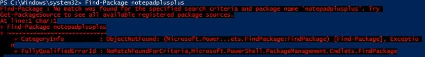 Find-Package Error