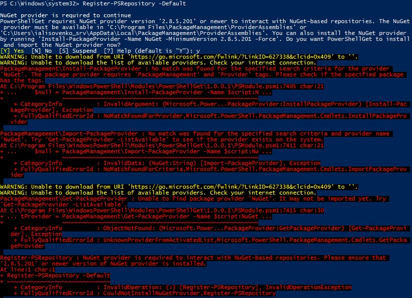Register-PSRepository Error